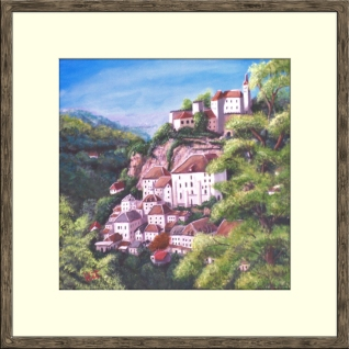 "Rocamadour: Acrylic on 15""x15"" stretched canvas."